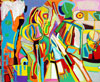 Abstract art scene of streetwalker and policeman