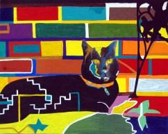 Kelly, abstract cat art