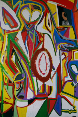 Aliens are us, astract painting by Marten Jansen, 2002