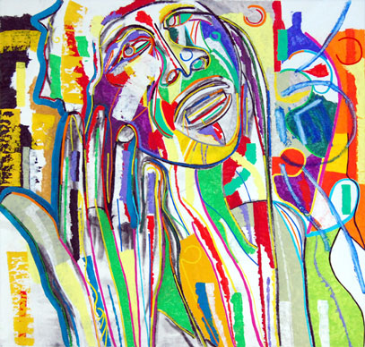 Woman Crying, abstract art by Marten Jansen