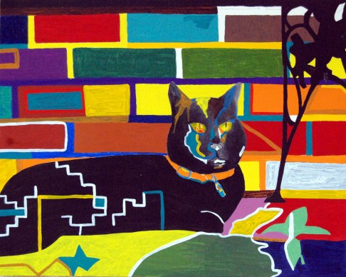 Kelly, abstract cat art by Marten Jansen
