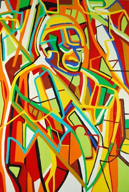 Abstract portrait of Pope JP II, by Marten Jansen
