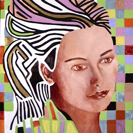 Semi-abstract art portrait of woman