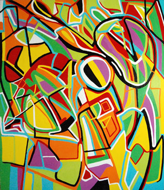 Composition II, abstract painting by Marten Jansen